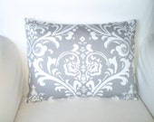 Gray Damask Lumbar Pillow Cover, Decorative Throw Pillows, Cushion Cover, Grey White Damask, Couch Bed Sofa Pillows, One 12 x 16  or 12 x 18