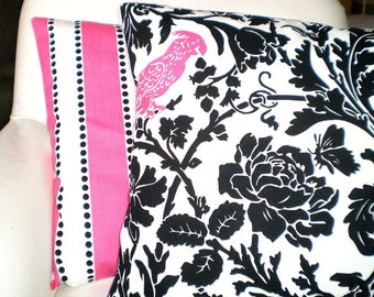 Pillows Decorative Throw Pillow Covers Cushion Covers Black White Floral Hot Pink Bird Pink White LuLu Stripe BOTH SIDES- Combo Set 18 x 18