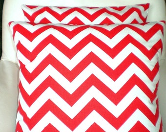 Red White Chevron Pillow Covers, Cushion Covers, Decorative Throw Pillow Holiday Cushions Red White Chevron Zig Zag, One or More ALL SIZES
