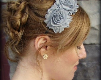 Shabby Chic Flower Head Band in Light Grey for Women and Girls