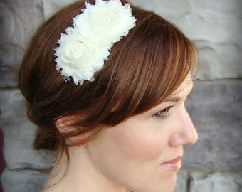 Flower Headband - Shabby Chic Headband in Ivory for Women and Girls