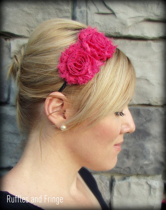 Adult Headband in Hot Pink with Black Polka Dots, Shabby Chic Flower for Girls and Women