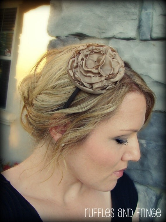 Headband for Women, Camel Flower Headband, Large Peony for Adults and Girls