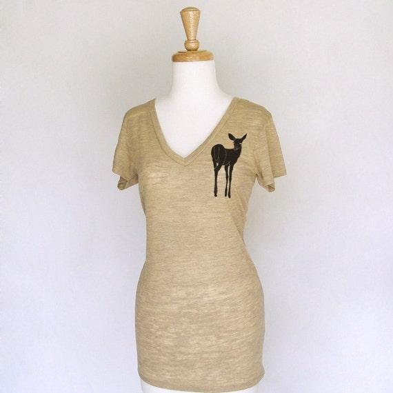 LAST ONE- Be a Deer Women's Size Medium Camel Heather Burnout V-Neck Tunic