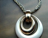 Vintage Double Teardrop Pendant Necklace Double Chain White Enamel Gold Tone Metal