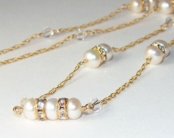 Golden Pearl Necklace - 14K Gold-filled Chain with White Freshwater Pearls, Swarovski Crystals, and Rhinestones