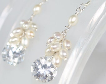 White Ruffled Crystal Earrings - Sterling Silver with Clear Cubic Zirconia and Freshwater Pearls - Earwires, Studs, or Leverbacks
