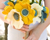 Custom Wedding Wildflower Felt Bouquet - Alternative Wedding Flowers - Teal and Yellow -