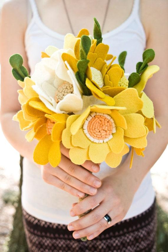 Custom Wedding Wildflower Felt Bouquet - Alternative Wedding Flowers -