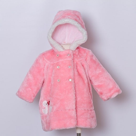 vintage Toddler Girl Coat/ Pink Faux Fur