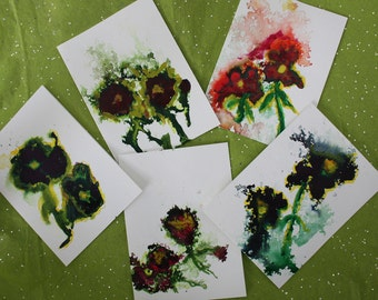 Original art card sets, Not photo copies but actual abstract watercolor and ink paintings, 4 card set