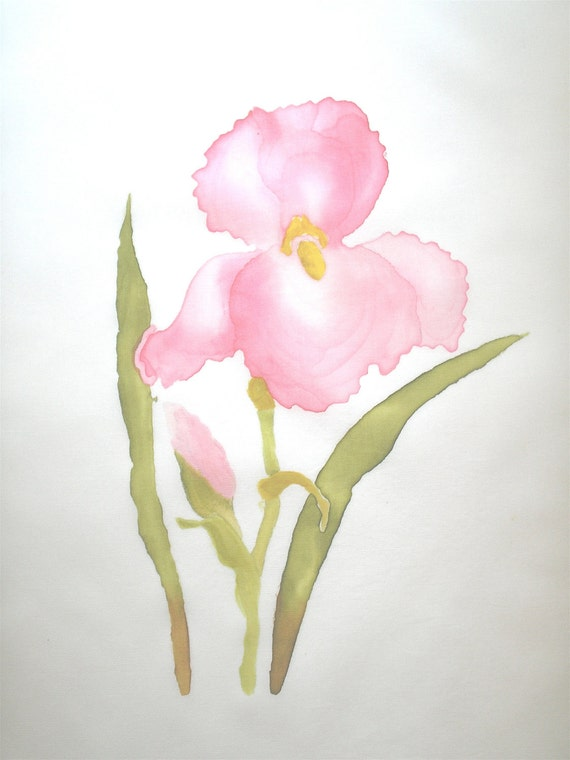Hand painted Pink Iris Cotton Quilt Block