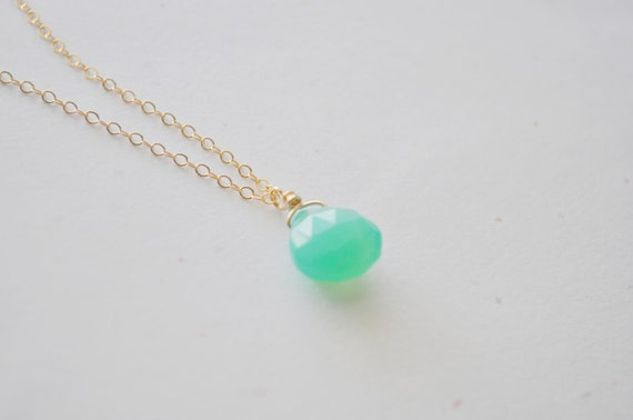 Gum Drop Necklace - mint green chalcedony stone heart briolette teardrop gold filled - simple everyday jewelry - adenandclaire