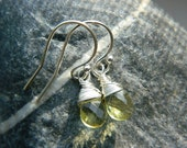 Lemon Quartz Pear Briolette Earrings wire wrap sterling silver yellow stone - READY TO SHIP