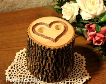 Engraved Heart Pen Holder Table Rustic Wedding Guest Book