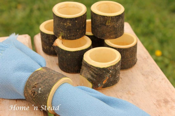 Branch Napkin Rings (8 pcs) Holders Wedding Decor Log Home Kitchen Party Favor