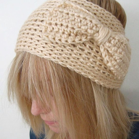 Crochet Wide  Head Warmer Creamy Natural with Crochet Bow