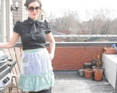 Sale 1960's SHEER APRON Vintage White Apron with One Pocket