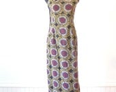 Vintage OFF THE SHOULDER Dress / Ethnic Print Gown / Tribal Boho Hippy Chic Tunic Size Small