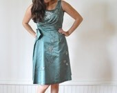 reserved for Lynda SALE 1950's COCKTAIL DRESS in Green Beaded Bombshell Dress / Vintage Gown Size Small