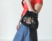 1970's  VINTAGE BLACK PURSE / Strawberry Handbag in Black and Red Strawberry Print Purse / Clutch/Totebag