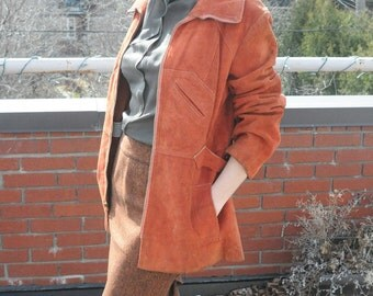 Suede Jacket Spring Coat 1970's LEATHER JACKET FREE Shipping