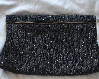SALE 1940's ART DECO Clutch Black Beaded Purse for the Holiday Party Season