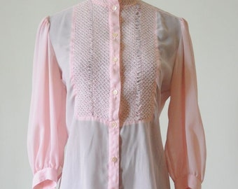 BLOUSE SALE 1970's Sheer Pink Soft Romantic Smocked Blouse by Esprit