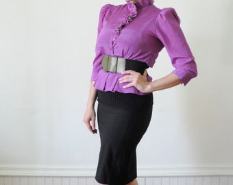 Black Friday Sale Purple Ruffle Blouse Vintage Size Medium