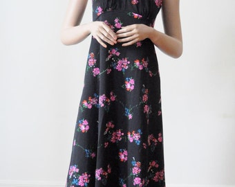 SALE Maxi DRESS 70's Floral Halter Dress Black Festival Dress