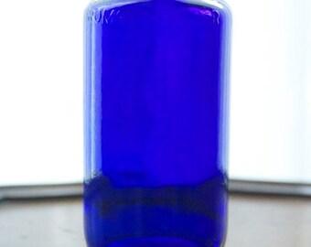 Antique COBALT BLUE MEDICINE Apothecary Bottle by Bromo Seltzer with Measuring Cap