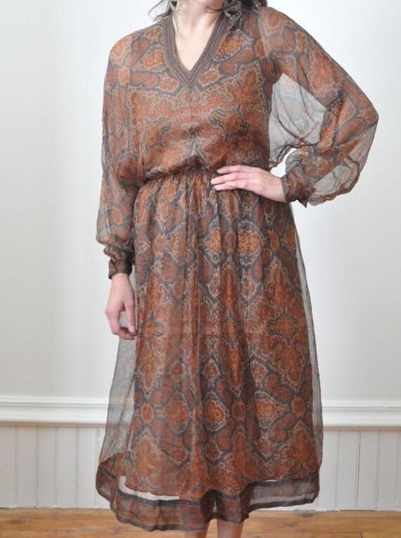 70's Sheer Silk Dress TREACY LOWE DRESS All Silk Peasant Dress - London Size 10 Holiday Dress Haute Couture