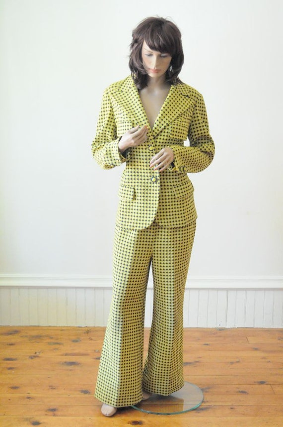 Bellbottom Pants CHECKERED PANTSUIT Halloween Yellow and Blue Diamond Checkered Suit Jacket and Bell Bottom Pants