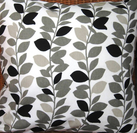 Black and White Pillow Cover - Decorative Pillow Cover - Grey Pillow - Grey and White Pillow Cover - 18 Inch Square - Both Sides