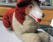 Vintage 40's / 50's Rubber Faced Collie Dog Stuffed Toy