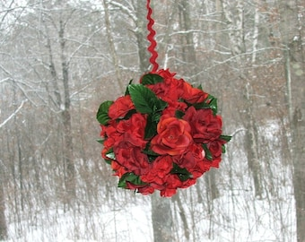 Sweetheart  Kissing Ball Red Rose Valentine