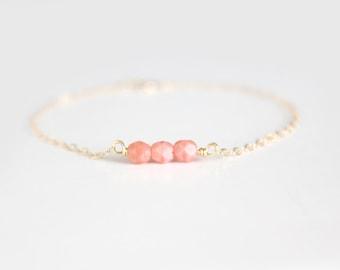 Beaded Bracelet - Sweet Pea - Coral Pink
