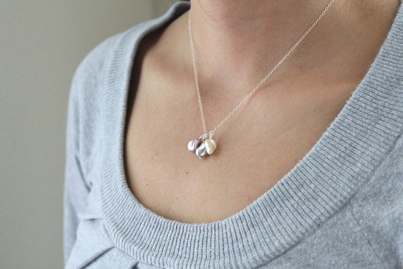 Triple Pearl Necklace - Grey, Pink, Cream - SALE