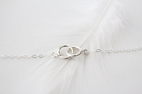 Sterling Silver Double Ring Necklace - Eternal - Silver