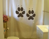 dog paw print shower curtain track canine pup puppy best friend track bathroom decor kids bath curtains custom size long wide waterproof