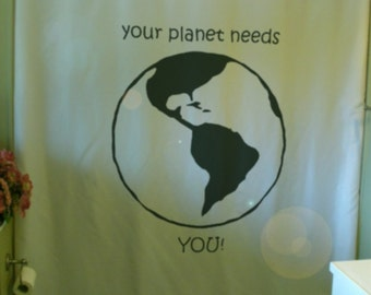 your planet needs you shower curtain America Earth future together peace bathroom decor kids bath curtains custom size long wide waterproof