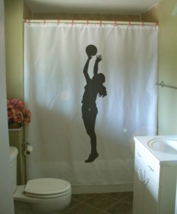 Basketball mädchen duschvorhang schuß kugel baller von eternalart