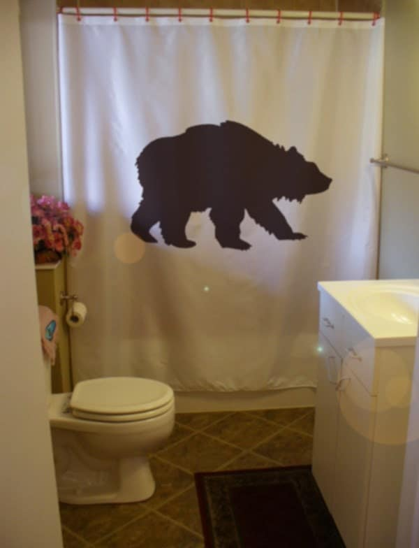 Grizzly Bear Shower Curtain Wild Creature America Black