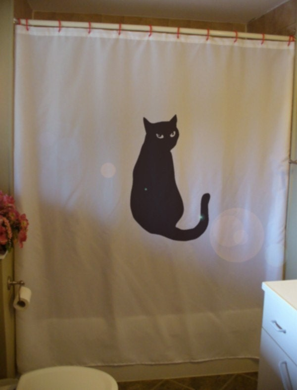 Black Cat Shower Curtain Bright Eyes Feline Curiosity Tail