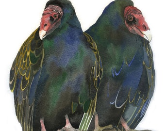 "Limited Edition GICLEE MINI Print / ""Double Trouble"" / Watercolor Painting of Turkey Vultures"