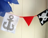 Handmade Felt Pirate Banner...yargh, matey - skull and crossbones - etsy kids - red black and white - MADE TO ORDER - pirate room decor
