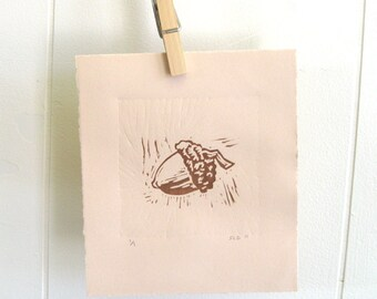 Acorn II, Linocut by Stacey Durand - brown - tan - woodland - printmaking - fall decor - buff - brown neutrals