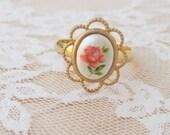 Vintage Floral Rose Ring