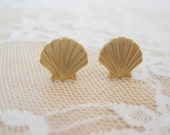 Golden Sea Shell Post Earrings - CLEARANCE SALE!