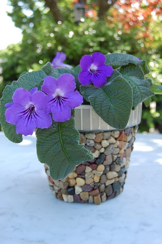 Stone Pebble and Glass Mosaic Flower Planter